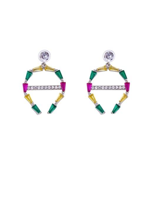CC Brass Cubic Zirconia Geometric Statement Cluster Earring 1