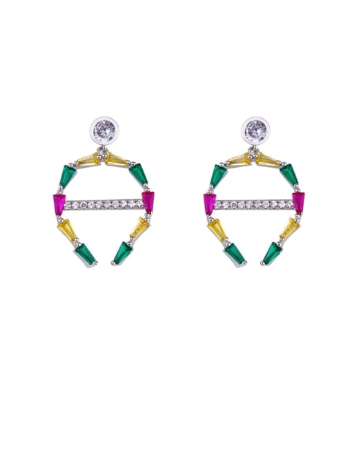 platinum Brass Cubic Zirconia Geometric Statement Cluster Earring