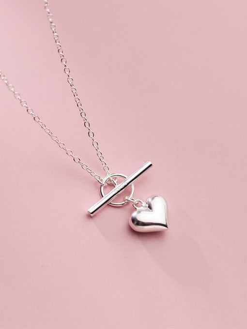 Rosh 925 Sterling Silver Heart Minimalist Lariat Necklace
