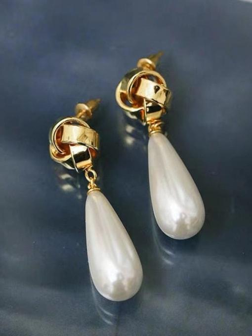 LI MUMU Brass Imitation Pearl Water Drop Minimalist Drop Earring 1