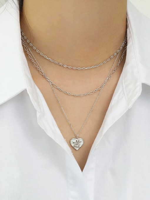 Dak Phoenix 925 Sterling Silver Heart  angel Vintage pendant Necklace 2