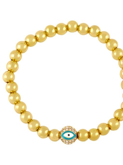绿眼睛 Brass Enamel Evil Eye Minimalist Beaded Bracelet