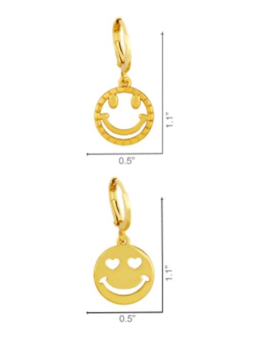 CC Brass Rhinestone Smiley Hip Hop Huggie Earring 3