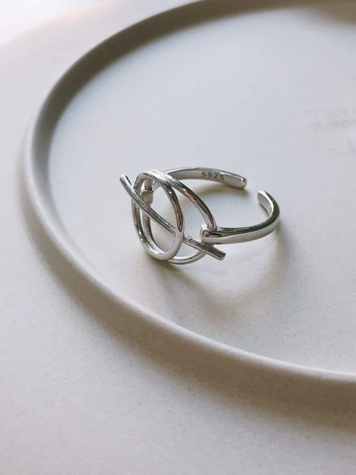 Boomer Cat 925 Sterling Silver Hollow Geometric Minimalist Band Ring 2