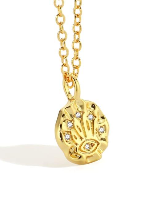 Gold Eye Necklace Brass Rhinestone Irregular Minimalist Necklace