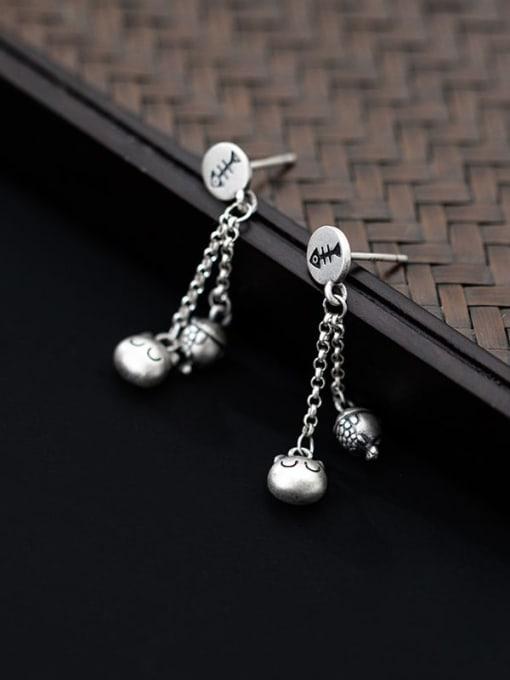 Rosh 925 Sterling Silver Bead Tassel Minimalist Drop Earring