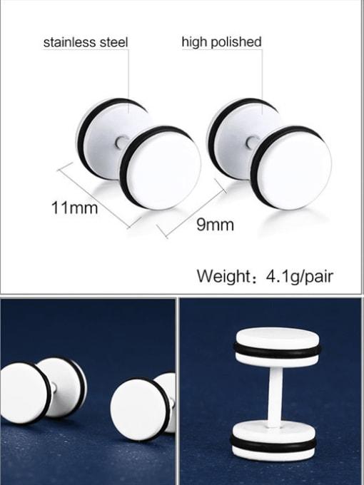 CONG Titanium Steel Enamel Geometric Minimalist Stud Earring 2