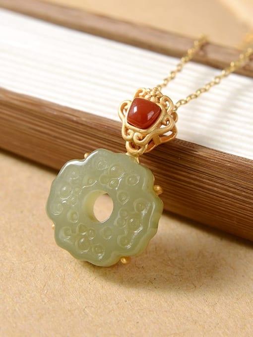 Blue jade (No chain) 925 Sterling Silver Jade Vintage Flower  Pendant