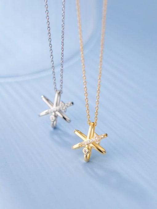 Rosh 925 Sterling Silver Cubic Zirconia Star Minimalist Necklace 1