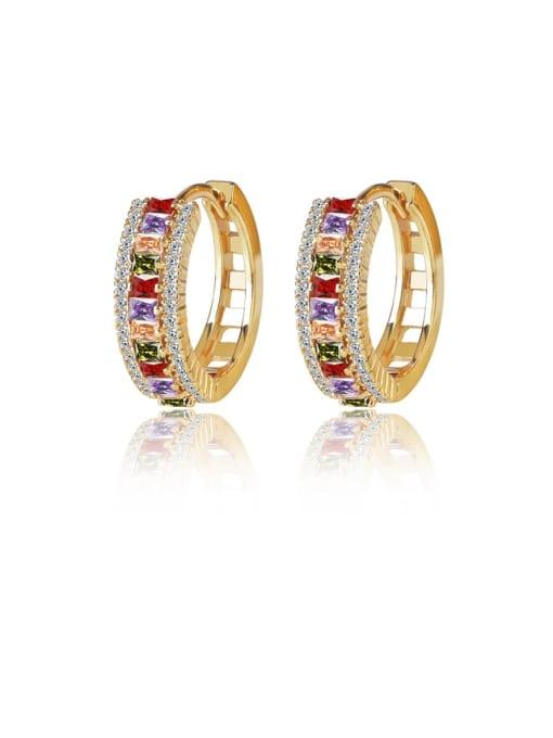 DUDU Brass Cubic Zirconia Geometric Luxury Huggie Earring