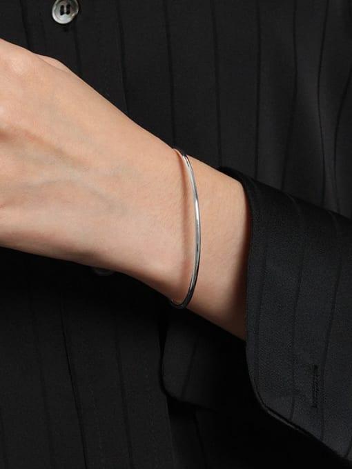 DAKA 925 Sterling Silver Geometric Minimalist Cuff Bangle 3