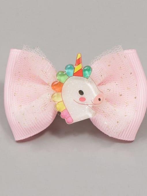 6 rainbow Unicorn Alloy Yarn Cute Bowknot  Multi Color Hair Barrette