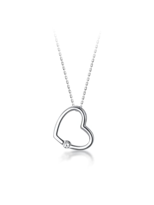 Rosh 925 Sterling Silver Hollow Heart Minimalist pendant Necklace