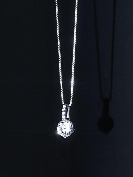 Rosh 925 Sterling Silver Rhinestone Round Minimalist Necklace 0