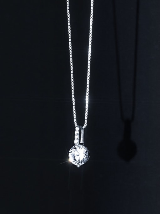 Rosh 925 Sterling Silver Rhinestone Round Minimalist Necklace