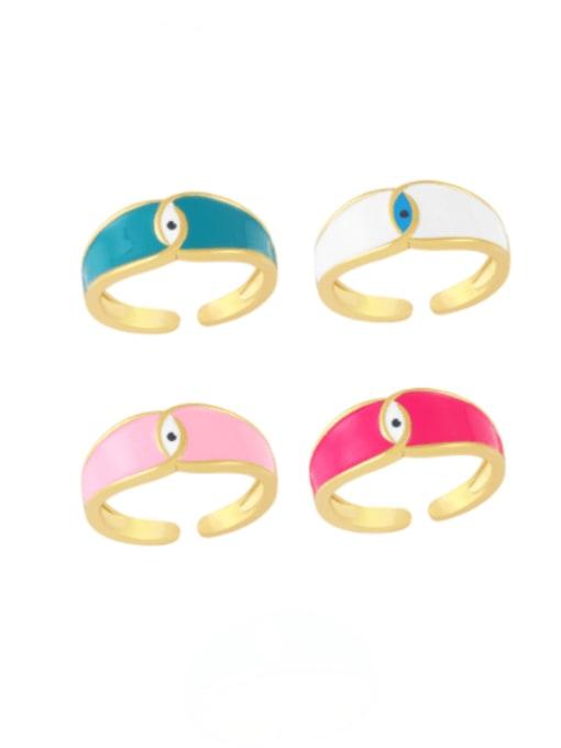 CC Brass Enamel Evil Eye Minimalist Band Ring 0