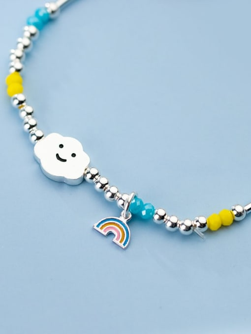 Rosh 925 Sterling Silver Bead Multi Color Cloud Minimalist Beaded Bracelet 2