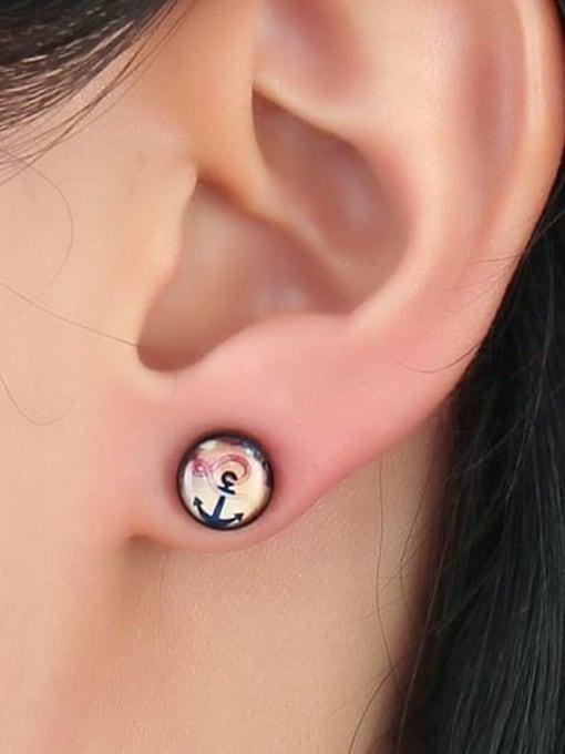 CONG Titanium Steel Enamel Geometric Hip Hop Stud Earring 1