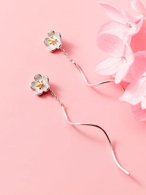 Rosh 925 Sterling Silver  Enamel Flower Minimalist Threader Earring 2