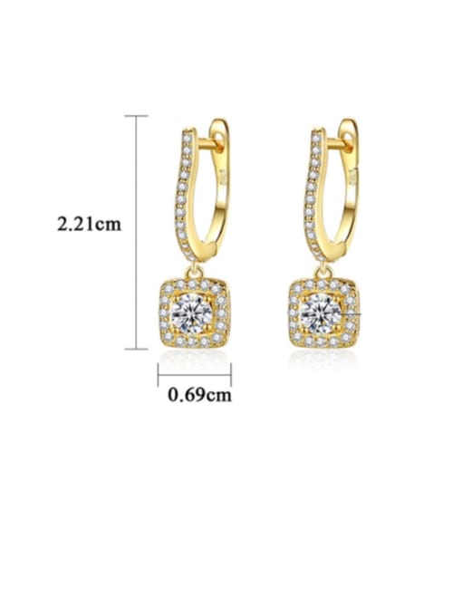 CCUI 925 Sterling Silver Cubic Zirconia Geometric Dainty Drop Earring 3