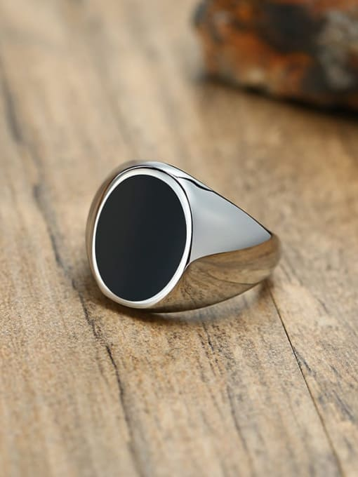 CONG Titanium Steel Acrylic Geometric Vintage Band Ring 0