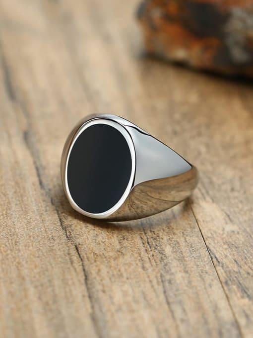 CONG Titanium Steel Acrylic Geometric Vintage Band Ring