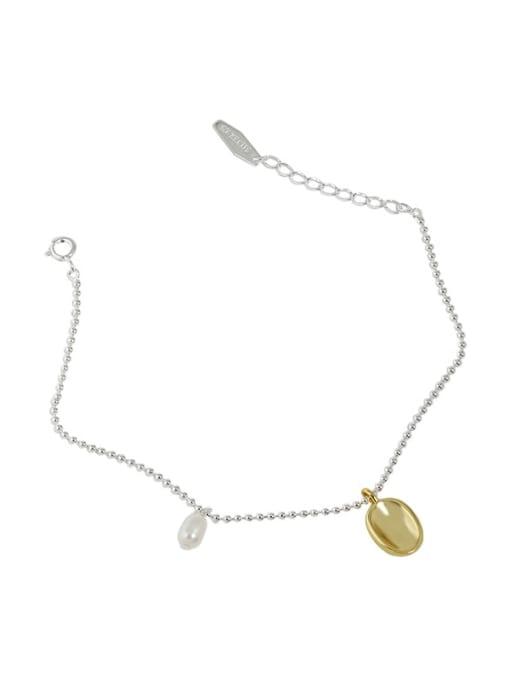 silver 925 Sterling Silver Geometric Minimalist Link Bracelet