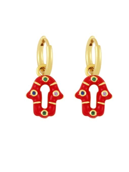 red Brass Enamel Geometric Vintage Huggie Earring