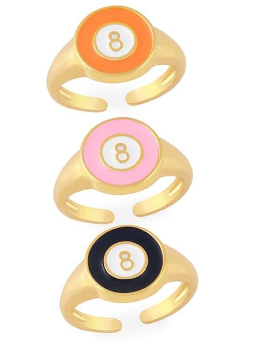 CC Brass Enamel Geometric Minimalist Band Ring 0
