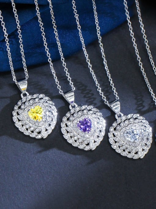 L.WIN Brass Cubic Zirconia Luxury Heart Earring Ring and Necklace Set 3