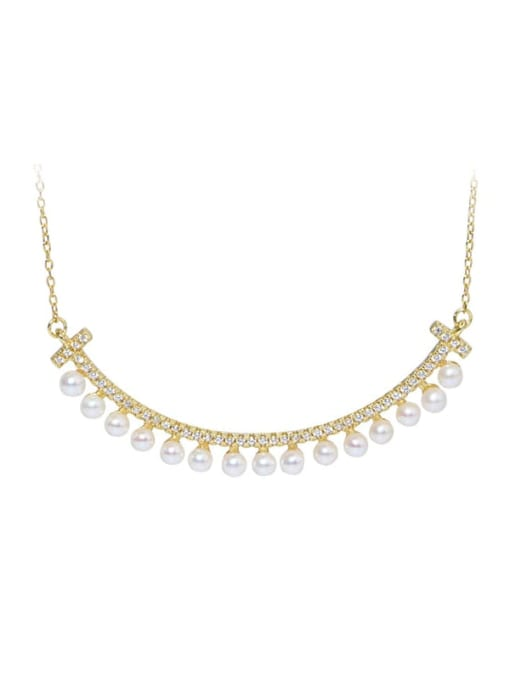 RAIN 925 Sterling Silver Freshwater Pearl Geometric Minimalist Necklace 0
