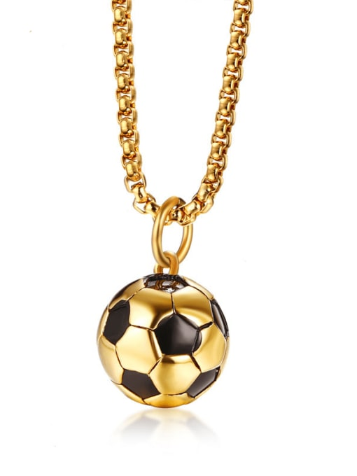 CONG Stainless steel Enamel football Minimalist Necklace