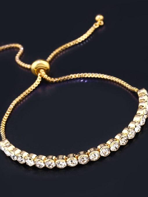 golden Alloy Cubic Zirconia Geometric Bohemia Adjustable Bracelet
