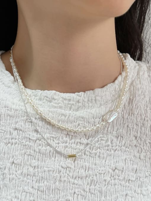 Boomer Cat 925 Sterling Silver Freshwater Pearl Irregular Minimalist Necklace 2