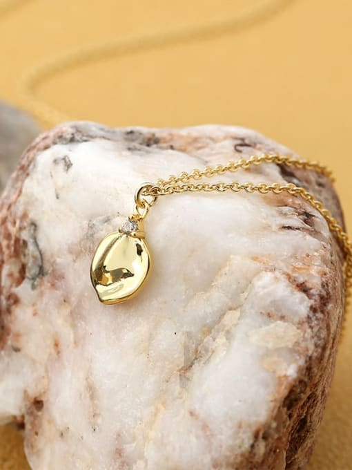 CHARME Brass Smooth Geometric Minimalist Pendant  Necklace 1