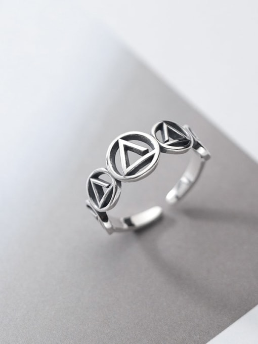 Rosh 925 Sterling Silver  Vintage Geometric triangle circle  Band Ring 2