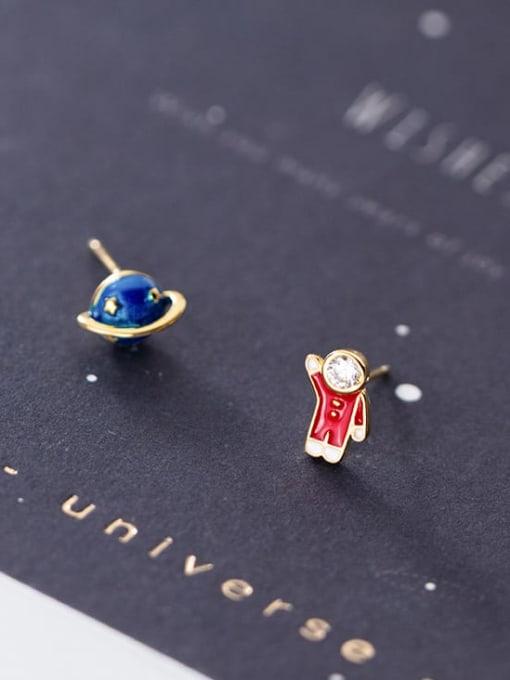 Rosh 925 Sterling Silver  Minimalist Cute cartoon astronaut stylish blue planet  Stud Earring 1