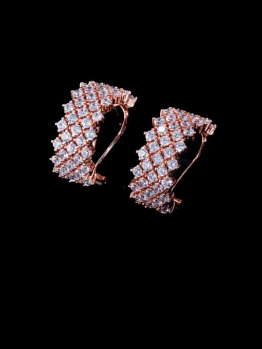 L.WIN Brass Cubic Zirconia Geometric Statement Stud Earring