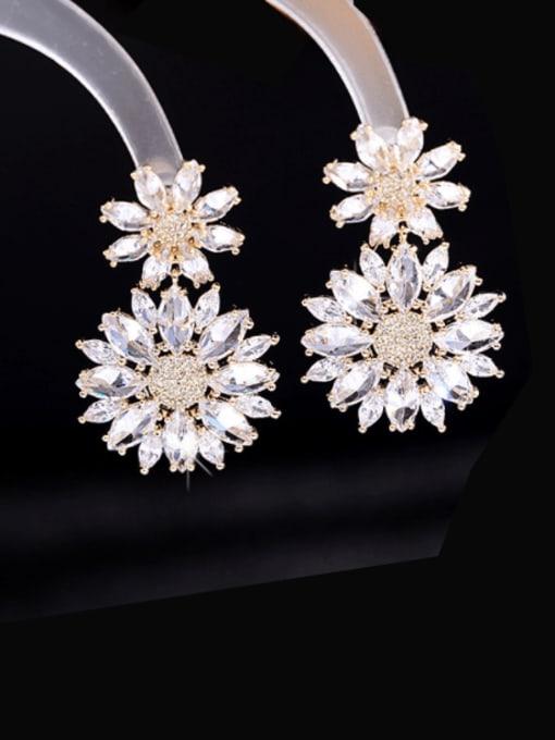 Golden+ white zirconium Brass Cubic Zirconia Flower Luxury Drop Earring