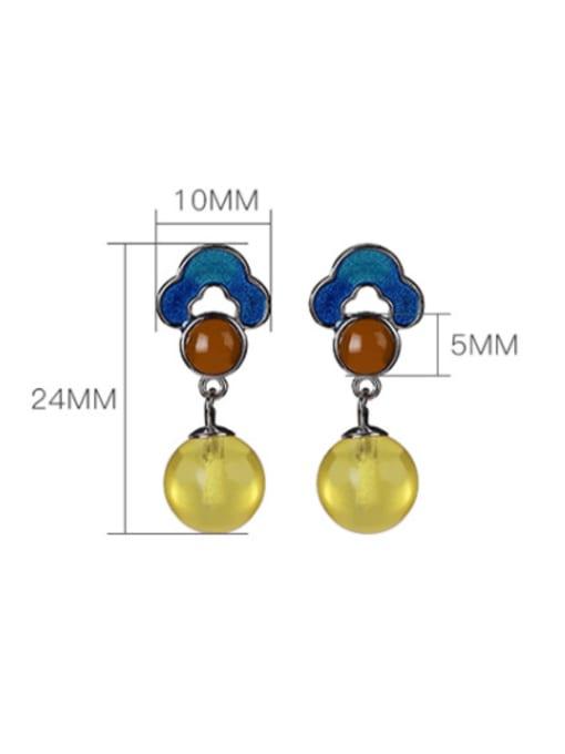 DEER 925 Sterling Silver Jade Flower Vintage Drop Earring 3