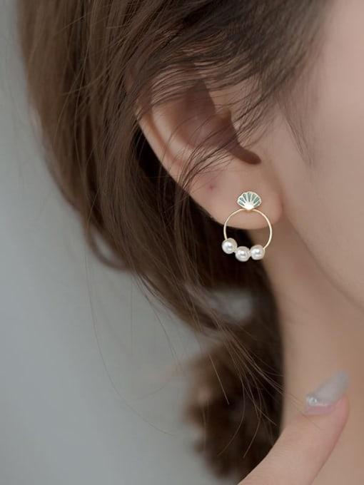 Rosh 925 Sterling Silver Imitation Pearl Enamel Star Vintage Stud Earring 2