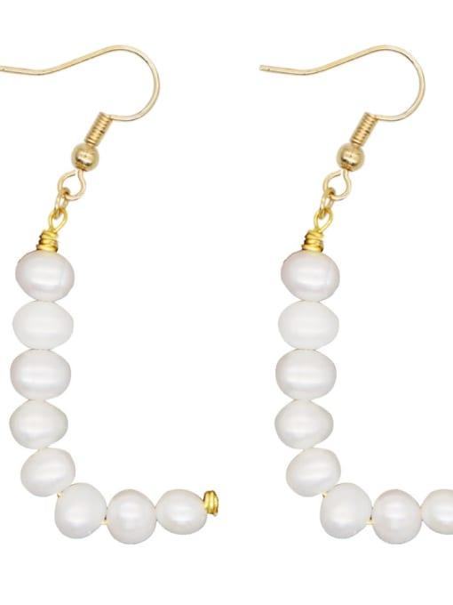 ZZ E200079L Stainless steel Freshwater Pearl Letter Ethnic Drop Earring