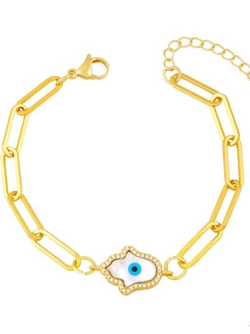 A Brass Enamel Evil Eye Hip Hop Link Bracelet