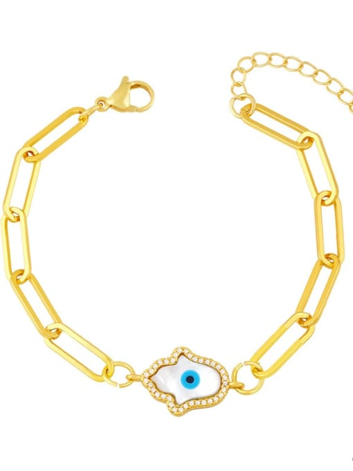 CC Brass Enamel Evil Eye Hip Hop Link Bracelet 1