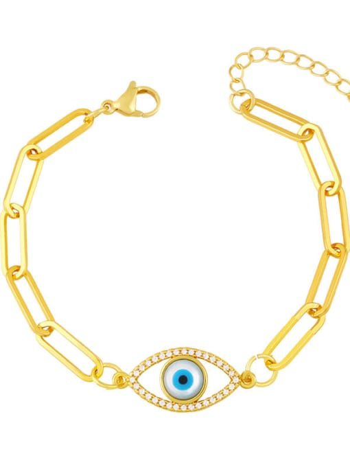D Brass Enamel Evil Eye Hip Hop Link Bracelet