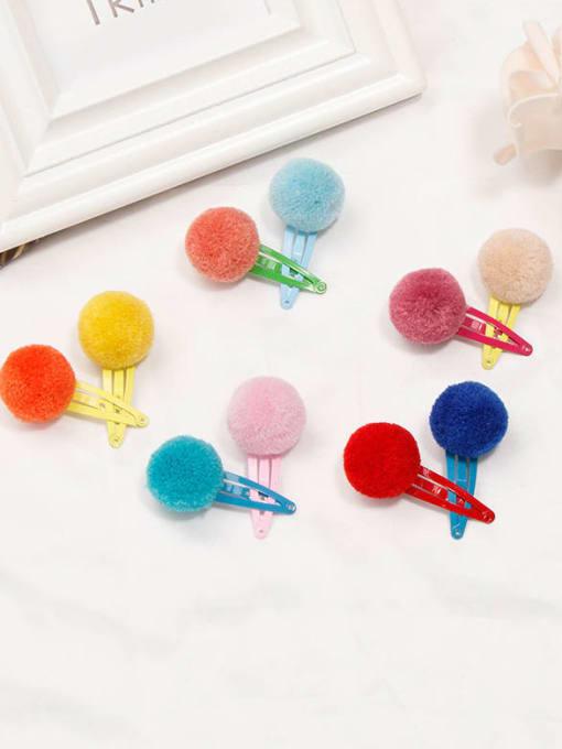 YOKI KIDS Alloy Feather Cute Round ball  Multi Color Hair Barrette 1