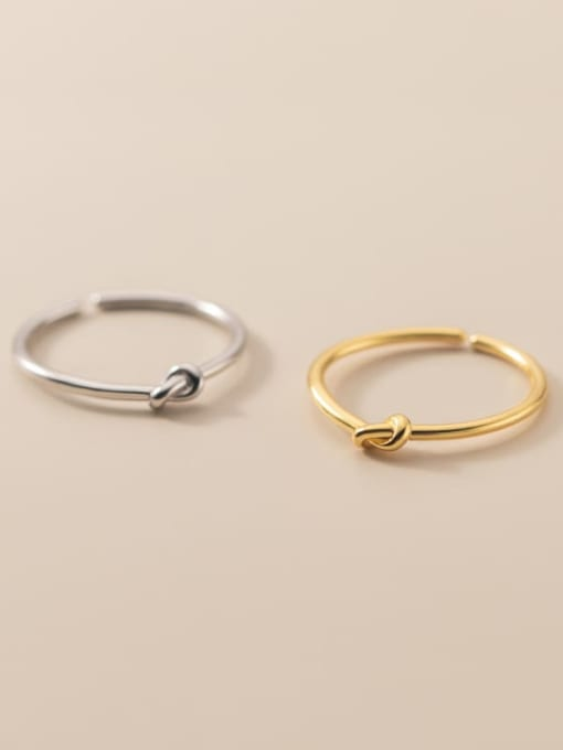 Rosh 925 Sterling Silver Bowknot Minimalist Band Ring 1