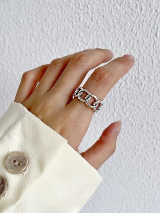 Big chain ring j200 4.5g 925 Sterling Silver Irregular Vintage Band Ring