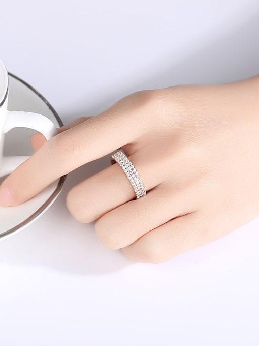 BLING SU Brass Cubic Zirconia Round Minimalist Band Ring 1