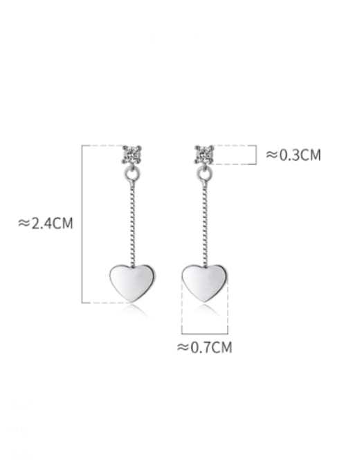 Rosh 925 Sterling Silver Smooth Heart Minimalist Threader Earring 3